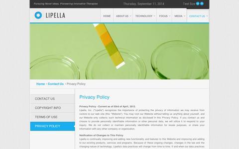 Screenshot of Privacy Page lipella.com - Lipella - Privacy Policy - captured Sept. 11, 2014