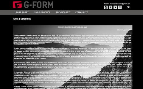 Screenshot of Terms Page g-form.com - Terms & Conditions G-Form - captured Sept. 23, 2014