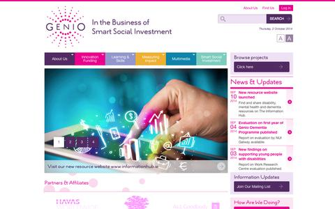 Screenshot of Home Page genio.ie - Genio   In the Business of Smart Social Investment - captured Oct. 2, 2014