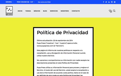 Screenshot of pupapress.com - PolĂ­tica de Privacidad - Pupa Press - PequeĂąa casa editorial - captured April 11, 2016