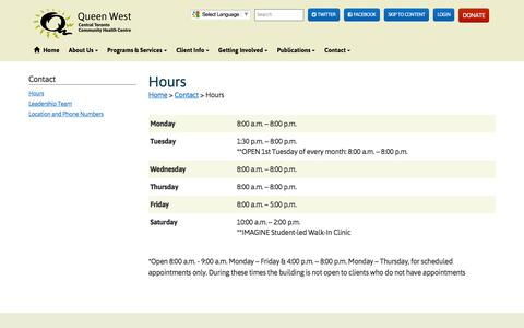 Screenshot of Hours Page ctchc.org - Hours | Queen West Central Toronto Community Health Centre - captured Jan. 26, 2016