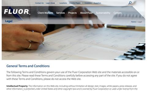 Screenshot of Terms Page fluor.com - Legal - General Terms and Conditions - captured July 25, 2018