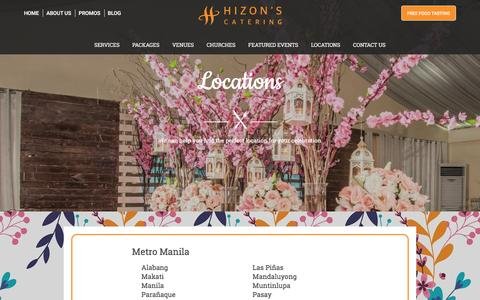 Screenshot of Locations Page hizonscatering.com - Locations | Hizon's Catering: Catering Services for Weddings, Debut, Kids Parties and Corporate Events - captured May 20, 2017