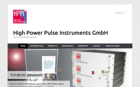 Screenshot of Home Page Menu Page hppi.de - High Power Pulse Instruments GmbH | Advanced TLP/HMM/HBM Solutions - captured Oct. 1, 2014