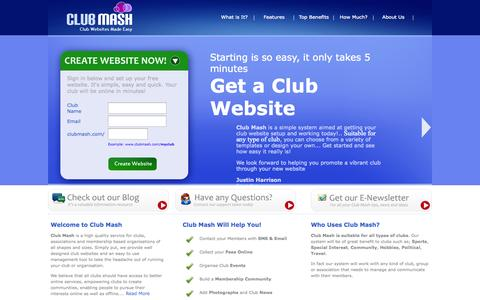 Screenshot of Home Page clubmash.com - Club Mash | FREE Club Website and Management Tool! - captured Sept. 30, 2014
