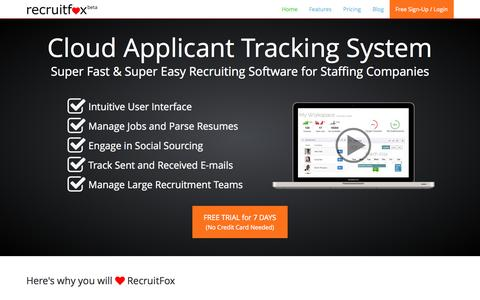 Screenshot of Home Page recruitfox.com - RecruitFox Applicant Tracking System Recruitment Software - captured Sept. 19, 2014