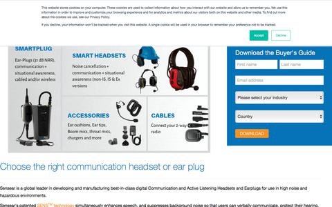 Screenshot of Products Page sensear.com - Two Way Radio Headset | Sensear - captured Oct. 23, 2019