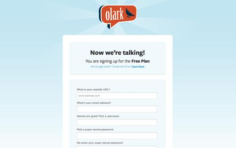 Screenshot of Signup Page olark.com - Olark | Sign up for live chat software to win sales and customer support - captured Oct. 28, 2014