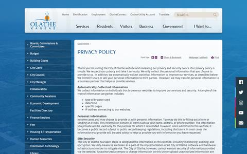 Screenshot of Privacy Page olatheks.org - Privacy Policy   City of Olathe - captured Sept. 28, 2018