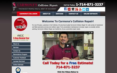 Screenshot of Home Page Privacy Page carmonascollision.com - Auto Body Repair Fullerton | Carmona's Collision 714-871-3237 - captured Oct. 2, 2014