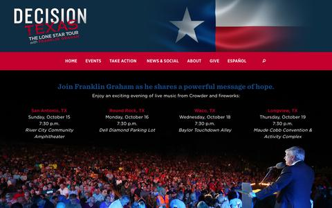 Screenshot of billygraham.org - Decision Texas: Join the Lone Star Tour with Franklin Graham - captured Oct. 15, 2017