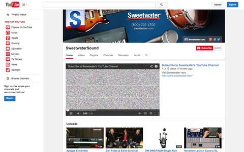 Screenshot of YouTube Page youtube.com - SweetwaterSound  - YouTube - captured Oct. 26, 2014