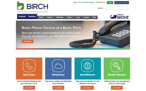 Screenshot of Home Page birch.com - Birch: Business Phone Systems | Cloud Hosting | VOIP - captured Dec. 7, 2015