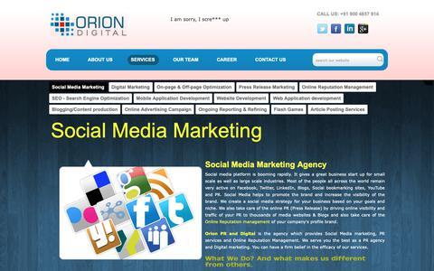 Screenshot of Services Page oriondigital.in - Social Media Marketing Agency in Mumbai|Hyderabad|Bangalore|Kolkata|New Delhi|NCR,India - captured Oct. 18, 2018