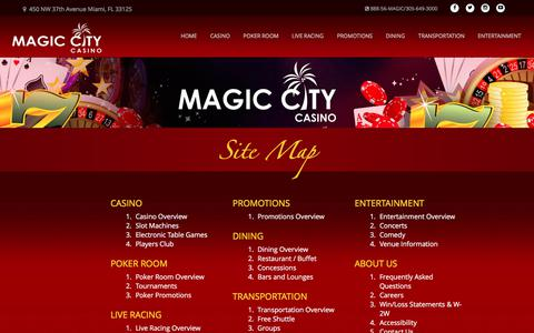 Screenshot of Site Map Page magiccitycasino.com - Site Map | Magic City Casino - captured March 6, 2018