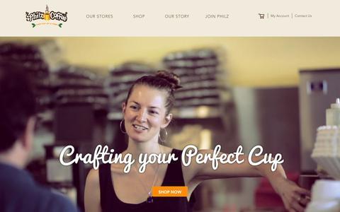 Screenshot of Home Page philzcoffee.com - Philz Coffee - captured Jan. 9, 2016