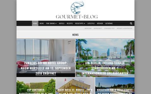 Screenshot of Home Page gourmet-blog.de - Gourmet-Blog.de - Genuss. Reise. Lifestyle. - captured Sept. 22, 2018