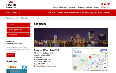 Screenshot of Contact Page Locations Page caddemirates.com - Locations – CADD Emirates - captured Sept. 25, 2018