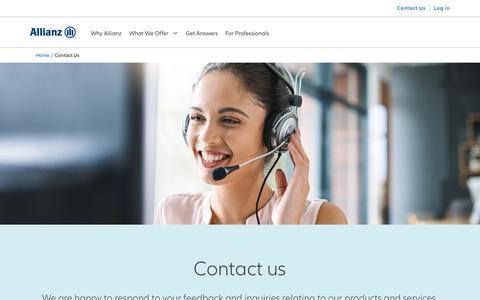 Screenshot of Contact Page allianzlife.com - Contact us | Allianz Life - captured Sept. 28, 2019