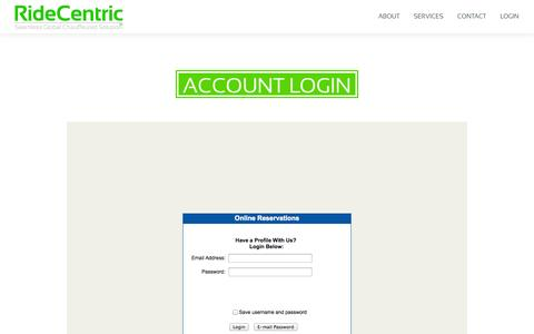 Screenshot of Login Page ridecentric.com - RideCentric - The Global Chauffeured Solution - captured Sept. 30, 2014