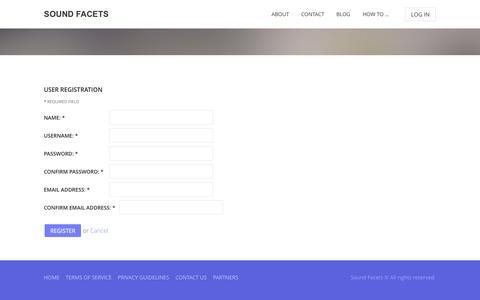 Screenshot of Signup Page soundfacets.com - Sound Facets - captured Oct. 7, 2014