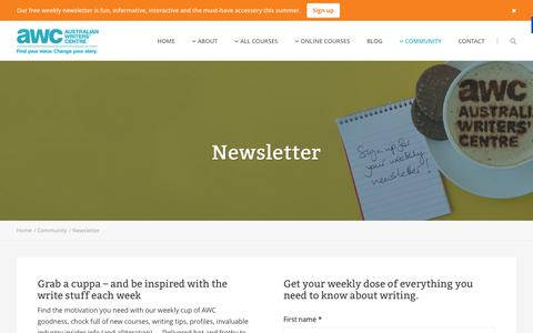 Screenshot of Signup Page writerscentre.com.au - Newsletter - Australian Writers' Centre - captured Oct. 27, 2014