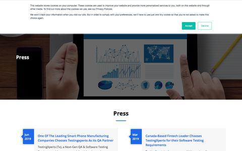Screenshot of Press Page testingxperts.com - Press releases | TestingXperts - captured Aug. 12, 2019