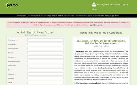 Screenshot of Signup Page ezanga.com - Adpad: SignUp / New Account - captured July 19, 2016