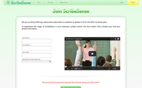 Screenshot of Signup Page scribesense.com - Join ScribeSense  - ScribeSense - captured Sept. 30, 2014