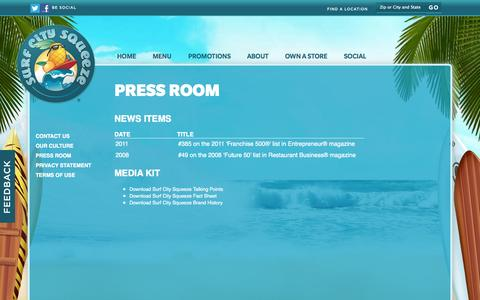 Screenshot of Press Page surfcitysqueeze.com - Surf City Squeeze  About Us  Press - captured Oct. 7, 2014