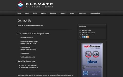 Screenshot of Contact Page elevate-av.com - Contact | Elevate Audio Visual - captured Oct. 2, 2014