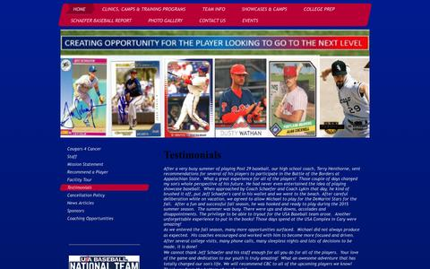 Screenshot of Testimonials Page cbcbaseball.net - About Carolinas Baseball Center - captured Jan. 26, 2016