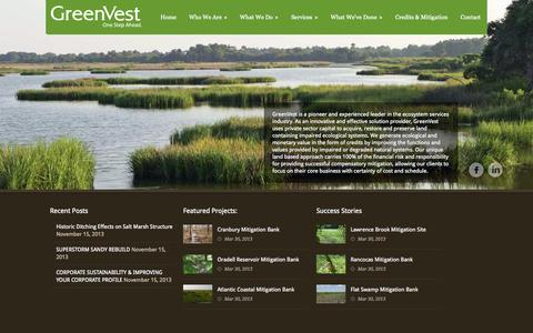 Screenshot of Home Page greenvestus.com - GreenVest |  The Leader in Ecosystem Services & Environmental Mitigation - captured Oct. 3, 2014