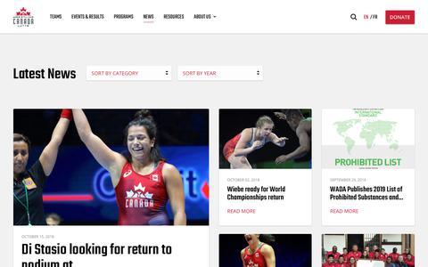 Screenshot of Press Page wrestling.ca - News | Canadian Olympic Style Wrestling | Wrestling Canada Lutte - captured Oct. 18, 2018