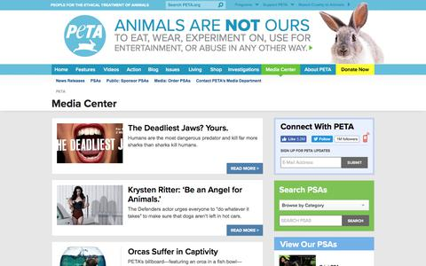 Screenshot of Press Page peta.org - Media Center | PETA - captured July 13, 2017