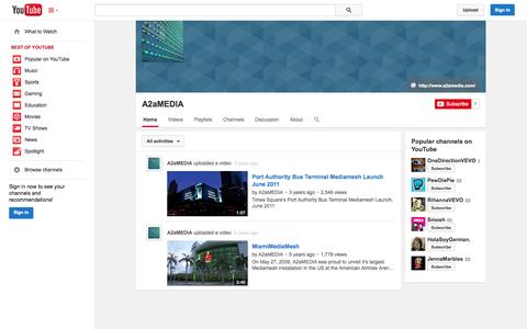 Screenshot of YouTube Page youtube.com - A2aMEDIA  - YouTube - captured Oct. 23, 2014