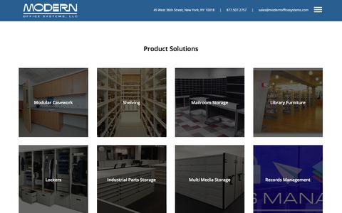 Screenshot of Products Page modernofficesystems.com - Product Solutions - captured June 18, 2017