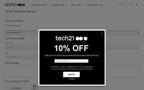 Screenshot of Contact Page tech21.com - tech21 Customer Services | Contact Us | tech21 ●● ●™ - captured Sept. 21, 2018