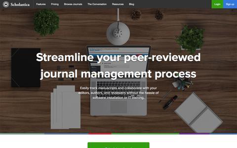 Screenshot of Home Page scholasticahq.com - Scholastica: Streamline your peer-reviewed journal management process - captured Feb. 4, 2016