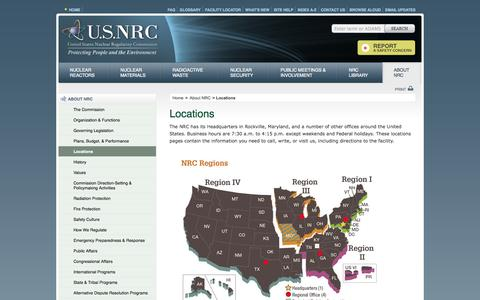 Screenshot of Locations Page nrc.gov - NRC: Locations - captured Oct. 3, 2014