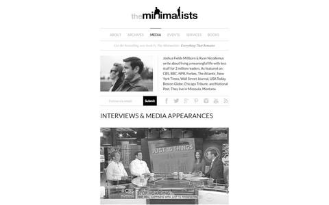 Screenshot of Press Page theminimalists.com - Interviews & Media Appearances - The Minimalists - captured Sept. 18, 2014