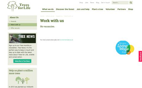 Screenshot of Jobs Page treesforlife.org.uk - Work With Us | Trees for Life - captured Nov. 14, 2017
