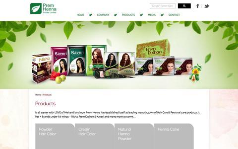 Screenshot of Products Page premhenna.com - Prem Henna - captured Nov. 2, 2014