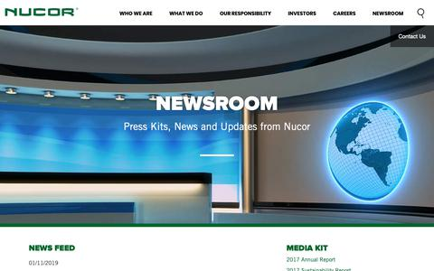 Screenshot of Press Page nucor.com - Nucor Newsroom - captured Jan. 22, 2019