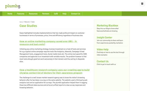 Screenshot of Case Studies Page plumb5.com - Plumb5: Case Studies - captured Sept. 6, 2016