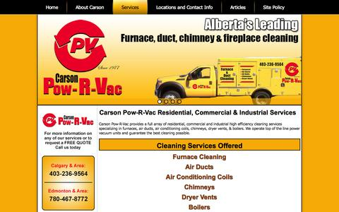 Screenshot of Services Page cpv.ca - Carson Pow-R-Vac Services - captured Oct. 1, 2014