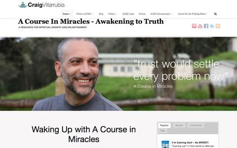 Screenshot of Home Page craigvillarrubia.com - A Course in Miracles - Enlightenment and Spirituality - captured Sept. 18, 2015