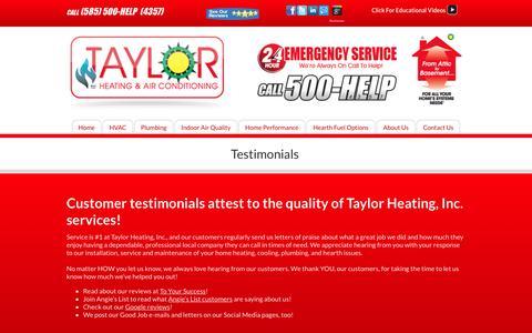 Screenshot of Testimonials Page taylorheating.com - Taylor Heating - Rochester, NY - Testimonials - captured Nov. 29, 2016