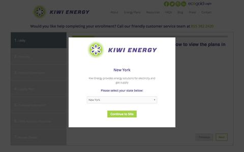 Screenshot of Signup Page kiwienergy.us - Sign Up for Eco-Friendly Energy Solutions - Enrollment Form | Kiwi Energy - captured Sept. 20, 2018