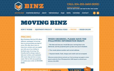 Screenshot of Pricing Page binzcontainers.com - BINZ Containers |    Pricing - captured Oct. 5, 2014